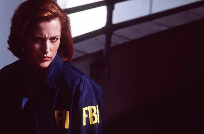 "Gillian Anderson in ""The X-Files - The Movie."""